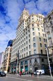 Telefonica Building in Downtown Madrid royalty free stock photography