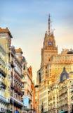 Telefonica Building in Gran Via street - Madrid, Spain Stock Image