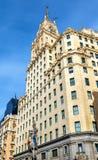 Telefonica Building in Gran Via street - Madrid, Spain Stock Images