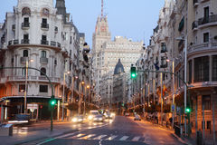 Telefonica building on Gran Via street in Madrid Royalty Free Stock Image