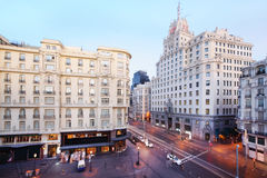 Telefonica building at Gran Via street at spring Stock Images
