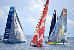 Telefonica, Camper, Abu Dhabi and Sanya teams in the sea preparing for start the Volvo Ocean Race. Stock Image