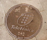Telefonica manhole in Barcelona Spain Stock Photos