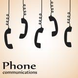 Telefoniczne telefon komunikacje projektują plakat, akcyjna wektorowa bolączka royalty ilustracja