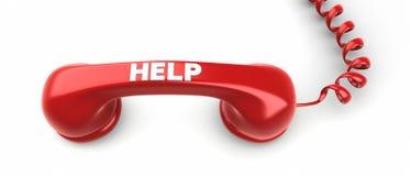 Telefonicznego odbiorcy i pomocy etykietka na nim. Zdjęcie Stock
