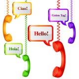 Telefoniczny Handset z rozmowa bąblami ilustracja wektor
