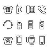 Telefonieren Sie, intelligentes Telefon, die Faxikone, die in dünne Linie Art eingestellt wird Lizenzfreies Stockbild