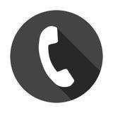 Telefonikone in der flachen Art Vektorillustration auf rundem Schwarz-BAC Lizenzfreie Stockfotografie