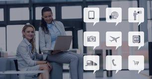 Telefonikonen gegen Bürohintergrund Lizenzfreie Stockbilder
