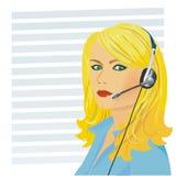 Telefonista hermosa joven de la muchacha Imagen de archivo