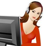 Telefonista hermosa joven de la muchacha Imagen de archivo libre de regalías