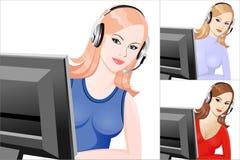 Telefonista hermosa joven determinada de la muchacha Imagen de archivo