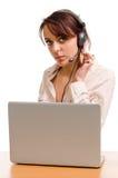 Telefonista su un servizio d'assistenza della societ Immagine Stock