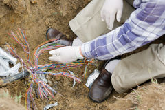 Telefonkabel-Reparatur Stockfoto