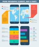 Telefonkarte der Welt und der Diagramme Lizenzfreie Stockfotos