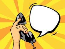Telefonlur för telefon för svart för innehav för hand för popkonst royaltyfri illustrationer
