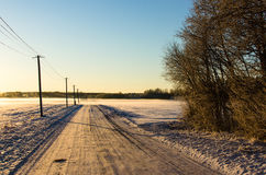 Telefonmaste durch eine schneebedeckte Landschaftsstraße lizenzfreie stockbilder