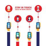Telefonmobile- und -benutzerikonen des Konzeptes des Sozialen Netzes intelligente Stockbild