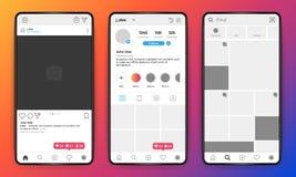 Telefonmodell Mobil manöverenhet för socialt nätverk på den realistiska telefonen, ram för foto för användareprofil Mall för vekt vektor illustrationer