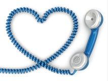 Telefonmottagare och kabel som hjärta. Förälskelseheta linjenbegrepp. arkivbilder