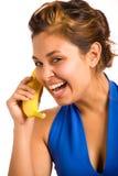 Telefono 2 della banana immagini stock