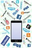 Telefono & marchi sociali Immagine Stock Libera da Diritti