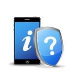 Telefono astuto con il segno di informazioni e di domanda Fotografia Stock