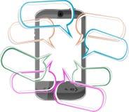 Telefono astuto mobile moderno. Invio dei messaggi di SMS Fotografia Stock