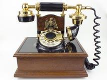 Telefono automatico rotatorio d'annata isolato su bianco Fotografia Stock
