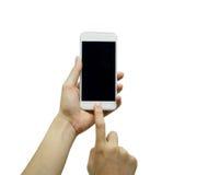 Telefono bianco commovente delle mani Fotografia Stock Libera da Diritti