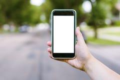 Telefono in bianco con il percorso di ritaglio Fotografia Stock