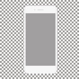 Telefono bianco con lo schermo in bianco su un fondo trasparente Immagini Stock