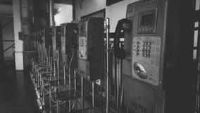 Telefono bianco nero Fotografie Stock Libere da Diritti