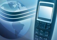 Telefono blu delle cellule con terra Fotografia Stock Libera da Diritti