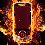 Telefono Burning Fotografia Stock Libera da Diritti