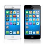 Telefono cellulare bianco e nero, vettore Immagini Stock Libere da Diritti