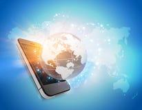 Telefono cellulare con il globo e mappa nei precedenti Immagine Stock