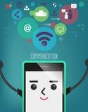 Telefono cellulare con la bolla del collegamento, comunicazione, collegamento Immagine Stock Libera da Diritti