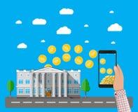 Telefono cellulare con le monete di oro e la costruzione di banca illustrazione vettoriale