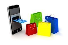 telefono cellulare 3d e carta di credito Fotografia Stock Libera da Diritti