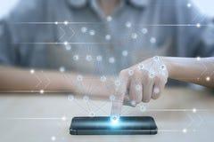 Telefono cellulare del punto di affari con l'interfaccia delle icone dell'applicazione Immagini Stock