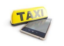 Telefono cellulare del segno del taxi Immagine Stock