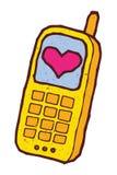 Telefono cellulare dell'oro con cuore sullo schermo Immagine Stock Libera da Diritti