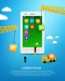 Telefono cellulare della costruzione, ingegneria dell'interfaccia utente dello smartphone e sviluppo di applicazioni del cellular Immagini Stock