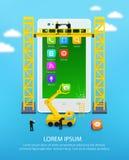 Telefono cellulare della costruzione, ingegneria dell'interfaccia utente dello smartphone e sviluppo di applicazioni del cellular Immagine Stock Libera da Diritti