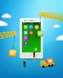 Telefono cellulare della costruzione, utente dello smartphone Fotografia Stock