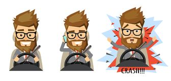 Telefono cellulare della tenuta dell'uomo mentre conducendo automobile Fotografia Stock