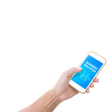 Telefono cellulare della tenuta della mano con la parola della soluzione di affari Immagini Stock Libere da Diritti