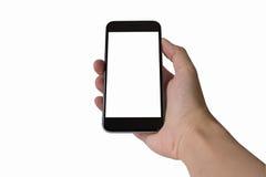 Telefono cellulare dello schermo in bianco nell'isolato della mano del ` s dell'uomo con backg bianco Immagini Stock
