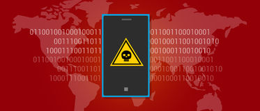 Telefono cellulare di malware del virus di dati di Internet Fotografie Stock